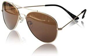 PAERDE Aviator Polarized Sunglasses for Men Women 100% UV Protection Mirrored Lens Metal Frame Glasses with Spring Hinges