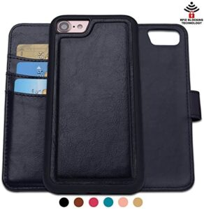 SHANSHUI Wallet Case Compatible with iPhone SE (2020) iPhone 7 iPhone 8, RFID Blocking with Detachable Leather Folio Flip Cover (Black)