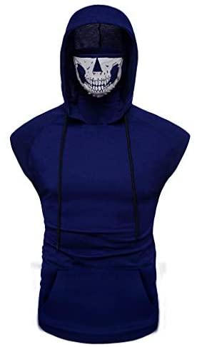 Stoota Fashion Men's Skull Mask Button Sports Vest Hooded Splice Large Open-Forked Breathable Fitness Male Vest