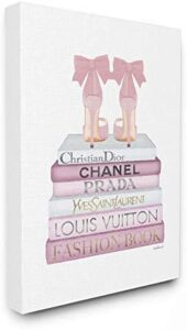 Stupell Industries Fashion Designer Shoes Bookstack Pink White Watercolor Canvas Wall Art, Multi-Color