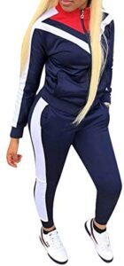 Womens Color Block Tracksuit 2 Piece Outfits, Casual Long Sleeve Full Zip Jacket and Pants Sport Set Sweatsuits