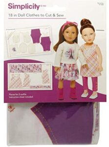 Wrights Simplicity 18″ Doll Clothes To Cut & Sew, Sugar & Spice