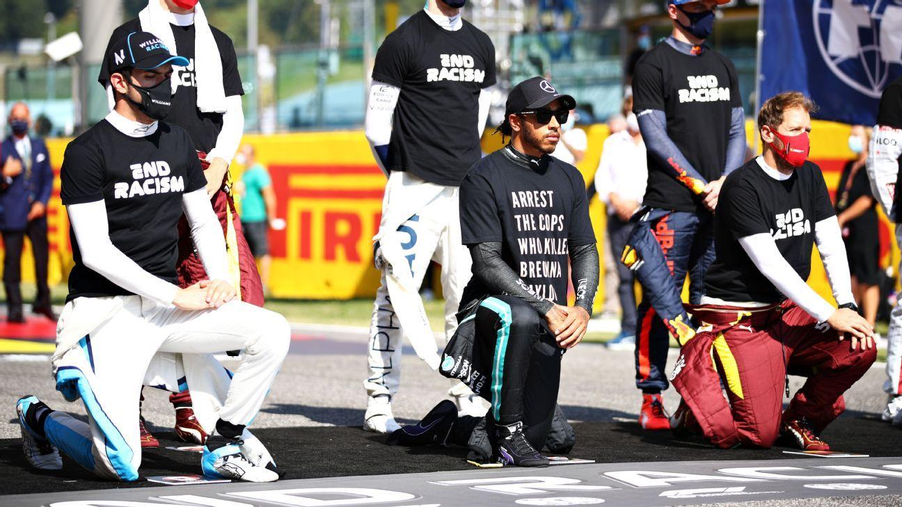 Hamilton wears Breonna Taylor T-shirt at Tuscan Grand Prix