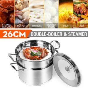 26CM 2 Layer Kichen Stainless Steel Boiler Steamer Pot Set Egg Noddle Cookware