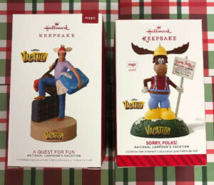 HALLMARK ALONG FOR THE RIDE & 2018 A QUEST FOR FUN VACATION ORNAMENTS  NEW MAGIC