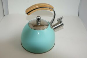 Pinky Up Presley 5879 Pistachio 2.5 Qt Whistling Tea Kettle Robin Egg Blue Chic