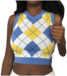 Tigivemen Women's Knit Sweater Vest Y2K Argyle Plaid E-Girls Preppy Style 90s Sleeveless Crop Knitwear Tank Top Streetwear