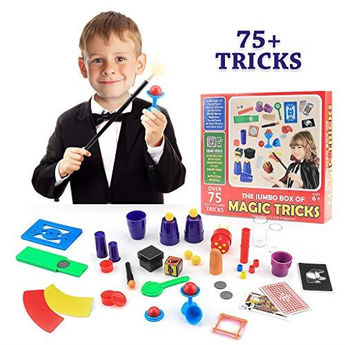 75 Classic Magic Tricks Magic Toys Kit Set with Wand for Kids Boys Girls Fun