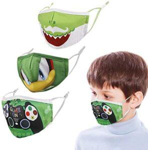 3 Pcs Face Cloth Masks for Kids, Comfortable Protective Cute Masks, Reusable & Washable