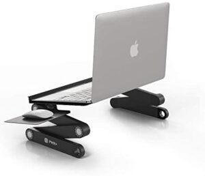Pwr Laptop Table Stand Adjustable Riser: Portable with Mouse Pad Fully Ergonomic Mount Ultrabook MacBook Notebook Light Weight Aluminum Black Bed Tray Desk Book Fans Up to 17″