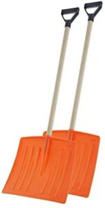 """Superio Kid Snow Shovel with Wooden Handle (2 Pack) Kids Size Orange Durable Shovel for Snow – Comfort D Grip on A Sturdy Handle 35 """" Height, Durable Plastic Blade, Kids Safe Shovel"""