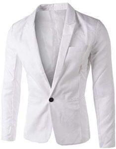 iYBUIA Charm Men's Casual Pure Slim Fit One Button Suit Blazer Coat Jacket Tops Men Fashion