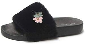 FORUU Womens Ladies Slip On Sliders Fluffy Faux Fur Flat Slippers Flip Flop Sandals
