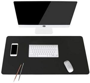Non-Slip Desk Pad, Waterproof PU Leather Desk Table Protector, Ultra Thin Large Mouse Pad, Easy Clean Laptop Desk Writing Mat for Office Work/Home/Decor(Black, 35.4″ x 17″)