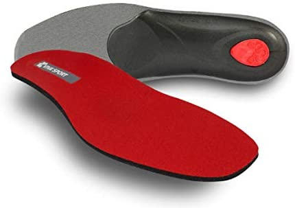 pedag VIVA SPORT Orthotic Inserts | Semi-Rigid, Full Length, Shock Absorbing Shoe Insole for Impact Sports with Metatarsal Pad, Heel Cushion – Red – US W7 / EU 37