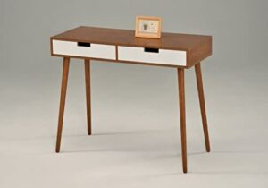 Light Walnut/White Console Sofa Table with Two Drawer – Mid-Century Style