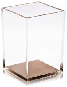 Coideal Acrylic Pen Pencil Holder Cup/ Desktop Stationery Makeup Brush Storage Organizer Caddy Box for Desk Table, Office School Supplies, Home Bedroom (Clear with Rose Gold Bottom)