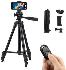Polarduck Phone Tripod, Tripod for iPhone 42 Inch 106cm Lightweight Tripod Stand for iPhone/Samsung/Huawei Cell Phone, Camera and Gopro with Bluetooth Remote Control, Phone Holder and Gopro Mount