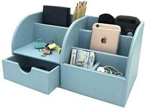 UnionBasic Office Desk Organizer – Multifunctional PU Leather Desktop Storage Box – Business Card/Pen/Pencil/Mobile Phone/Stationery Holder (Blue)