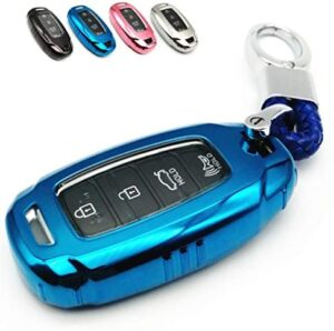 Cajek Key Fob Cover TPU Case Shell with Key chain Compatible with 2019 2020 2021 Hyundai Santa Fe Palisade Kona Elantra GT Veloster 4 Buttons Smart Keyless Remote Control -Blue