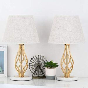 Table Lamp Set of 2, Gold Vintage Nightstand Table Lamps Set for Bedroom Living Room Family Bedside Lamp with Linen Fabric Shade and Marble Base