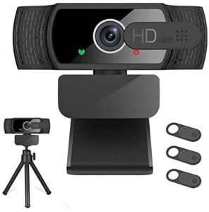 Webcam with Microphone for Desktop,1080P HD USB Webcam Live Streaming Laptop PC Computer Web Camera for Video Calling Conferencing Recording Gaming, 3D Noise Reduction
