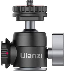 ULANZI U-60 Camera Tripod Ball Head Mount Adapter 360 Rotation, Cold Shoe for Microphone Led Video Light Mount Supporting Horizontal Vertical Shoot Vlog Accessory for iPhone/Gopro/Sony/Canon DSLR