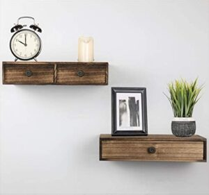 Abetree Wall Mounted Floating Shelves with Drawer Rustic Wood Hanging Wall Storage Shelves for Bedroom, Living Room Bathroom, Office,Nightstand,Bedside Shelf Set of 2