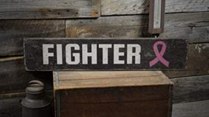 None-brands Cancer Fighter Sign, Breast Cancer Fight Signs, Moms Present, Beat Cancer Decor, Room Decor and Gift Farmhouse Rustic Retro Wooden Sign Plaque Home Wall Decor Retro Artwork Decoration