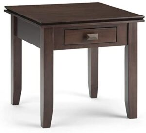 Simpli Home Artisan SOLID WOOD 21 inch wide Square Contemporary End Side Table in Tobacco Brown with Storage, 1 Drawer, for the Living Room and Bedroom