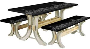 Chicago Skyline Picnic Table & Benches Cover,Line Abstract Style Urban Silhouette of Popular American Town Office Print 72″ Elastic Edge Fitted Tablecloth Set for Travel Christmas Picnics,Onyx White