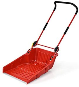 """GYMAX 24"""" Poly Sleigh Shovel, Rolling Snow Pusher Scoop Extra Large Capacity, Adjustable Heights & Easy Setup with Ergonomic Handle & Wheels for Driveway, Sidewalk, Patio"""