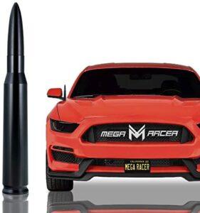 Mega Racer 50 Cal Bullet Antenna for Cars – 5.5 Inch Universal AM/FM Radio, 6061 Solid Aluminum Bullet Car Antenna Anti-Theft Design Car Wash Safe, Black