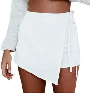 FONMA Womens Sexy Skorts Skirt High Waisted Casual Irregular Flanging Wrap Culottes