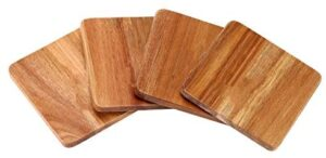 Wood Coasters for Drinks – 4-Pack Square Cup Coasters Set   Funny Housewarming Gift Wedding Decorations Or Even For Your Kitchen, Office Desk & Coffee Table