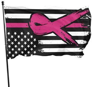 BAIFUMEN Breast Cancer Awareness Ribbon Garden Sign Vivid Color and UV Fade Resistant Polyester Outdoor Garden Decor Porch Lightweight Flag 3 X 5 Ft