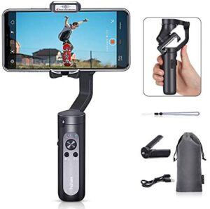 Hohem iSteady X, 3-Axis Foldable Lightweight Gimbal Stabilizer, Which is only 0.57Lbs, Supports Moment/Auto-Inception Mode, and is Compatible with iPhone 12/11 and Smartphones (0.57Lbs, Black)