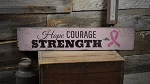None-brands Hope and Courage Cancer Sign, Breast Cancer Sign, Cancer Present, Fighter Decor, Room Decor and Gift Farmhouse Rustic Retro Wooden Sign Plaque Home Wall Decor Retro Artwork Decoration