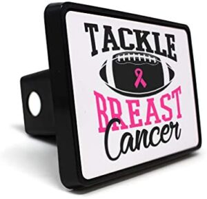 Style In Print Trailer Hitch Cover Breast Tackle Cancer Black I Lifestyle Plastic 2 Inches Truck Receiver Border Design Only