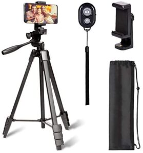 55 inch Tripod for iPhone, Apeocose Upgraded Aluminum Lightweight Phone Camera Tripod Stand with Wireless Bluetooth Remote Control Shutter and 360 Degree Phone Mount Holder for iOS & Android Phone