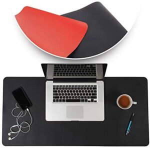 Desk Mat Black & Red 17×36 – Computer, Laptop, Keyboard & Mouse Pad Organizer – Leather Cover Office Table Protector – Double Side Gaming Surface with Colors – Typing & Writing Accessories