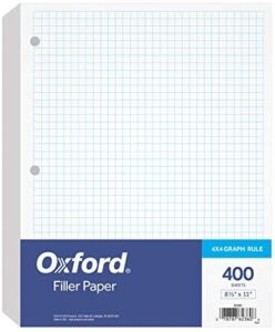 Oxford Filler Paper, 8-1/2″ x 11″, 4 x 4 Graph Rule, 3-Hole Punched, Loose-Leaf Paper for 3-Ring Binders, 400 Sheets Per Pack (62360)