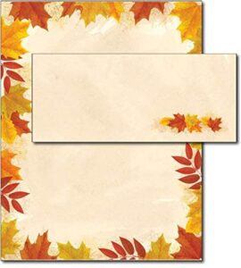 Autumn Leaves Border Fall Paper & Envelopes – 40 Sets