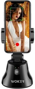 Smart Gimbal, WOKER 360° Rotation Auto Face Object Tracking holder, Live stream/ Vlog Smart Shooting Camera Mount for or iPhone and Android Phone(Black)