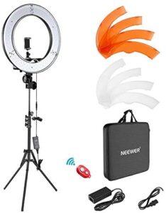 Neewer Ring Light Kit:18″/48cm Outer 55W 5500K Dimmable LED Ring Light, Light Stand, Carrying Bag for Camera,Smartphone,YouTube,TikTok,Self-Portrait Shooting, Black, Model:10088612