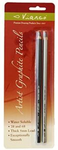 Art Graf Water-soluble Graphite 2B & 6B Pencils, Grey 2 Per Card