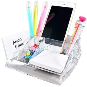 COM.TOP – Acrylic Desktop Supplies Organizer (Memo Note and Paper Clips Included) for 3 x 3 Memo, Clip Holder, Phone Holder, Business Card Holder | Office Supplies, Stationery Organizer for Desk