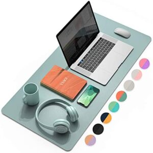 YSAGi Multifunctional Office Desk Pad, Ultra Thin Waterproof PU Leather Mouse Pad, Dual Use Desk Writing Mat for Office/Home (31.5″ x 15.7″, Glaucous Green+Orange)