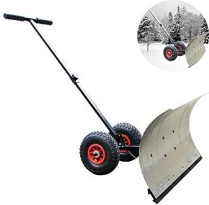 Wheeled Snow Shovel Pusher with Bi-Directional Wheels and Adjustable Handle, Heavy Duty Rolling Snow Pusher, for Pavement Clearing