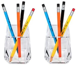 COM. TOP – Acrylic Pen Holder, Clear Desk Pen Cup, Office Supplies, Stationery Organizer, Makeup Brush Holder, 2 Pack